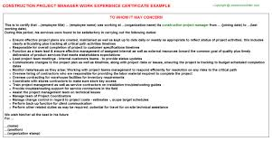 construction project manager work experience certificate