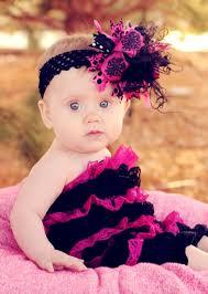 baby bow headbands shocking pink black medium hair bow headband