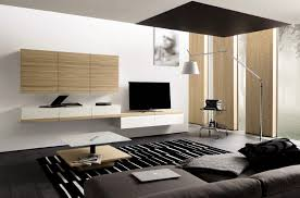 Modern Wall Unit Interior Design Black And White Rug With Unique Coffee Table And