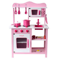childrens girls pink wooden toy kitchen with 20 piece accessories