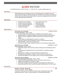 manager resume objective examples exciting marketing resume examples marketing resume objective examples resume examples for summary with highlights and experience as marketing account glamorous marketing manager