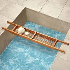 the genuine teak tub caddy hammacher schlemmer