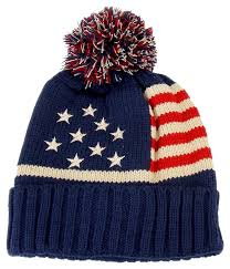 Usa Flag Hats American Flag Red Cream Navy Knitted Pom Pom Beanie Winter And