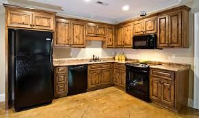 kitchen soft rustic hickory kitchen cabinets with black