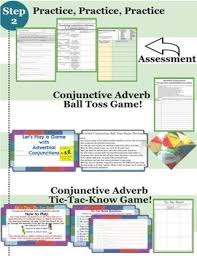 and conjunctive adverbs lesson practice games and assessment