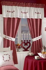 red checked curtains red plaid valance bear pine tree and moose