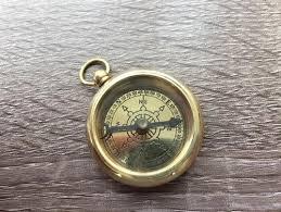 vintage necklace pendant images Brass open faced pocket compass w ship wheel design necklace jpg
