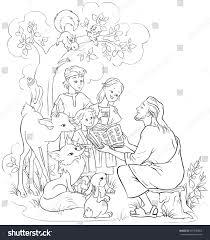 jesus reading bible children animals coloring stock vector