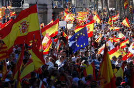 Barcelona Spain Flag Thousands Protest In Barcelona Against Catalan Independence Ntd Tv