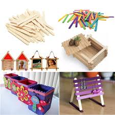 multi color blocks wooden lollipop popsicle sticks party kids