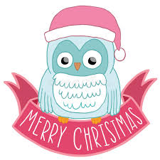 christmas owl in santa hat with ribbon stock vector image 34899526