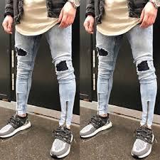 Mens Destroyed Skinny Jeans Men U0027s Ripped Skinny Biker Jeans Destroyed Frayed Slim Fit Denim
