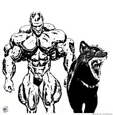 concept art character design bodybuilder mit tasmanian devil