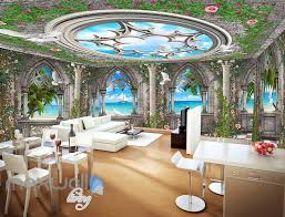 3d arch window view sky ceiling wall murals wallpaper