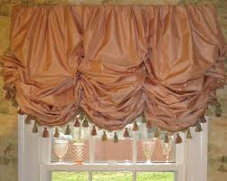 Coral Valance Curtains Coral Silk Gathered Balloon Shade With Fringe Lined And