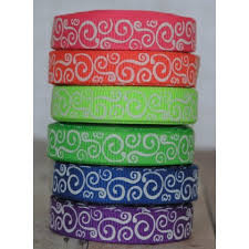 printed grosgrain ribbon 5 yards 3 8 neon scroll print grosgrain ribbon
