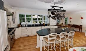 natural bamboo flooring for kitchen with island and white cabinets