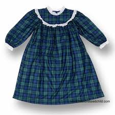 lanz of salzburg toddler navy green black plaid nightgown