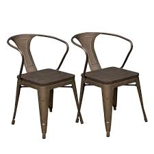 abbie home 2 piece bronze metal dining chair in glossy powder