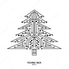 christmas tree techno sign u2014 stock vector superson 73012781