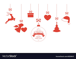 hanging ornaments with ribbons vector image