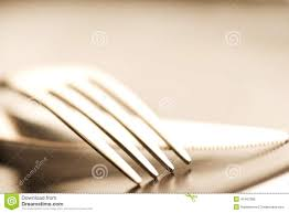 Artistic Flatware Cutlery Set Of Fork Knife And Spoon Isolated On A White
