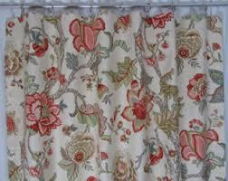 Plum Flower Curtains Blue Grey Floral Drapes Blue Floral Curtains Jacobean Style