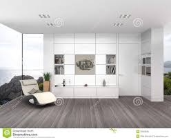 modern living room with white wall boarding stock illustration