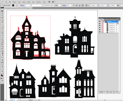 haunted mansion clipart 5 haunted mansion houses silhouettes diy wall or window decal or