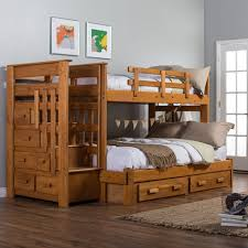 Bunk Bed With Dresser Bedroom Low Dark Wooden Loft Bed With Pull Out Desk And Storage