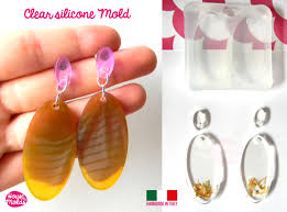 top earing oval flat earring set premade on top clear silicone mold
