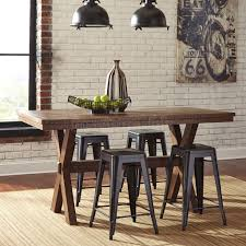 walnord counter height dining set metal stools casual walnord counter height dining set metal stools