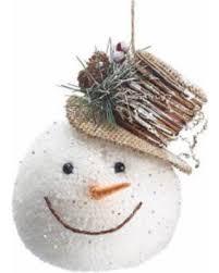 deal on snowman ornaments wearing brown burlap top hat