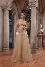 noble gold organza off the shoulder luxury evening dress with half