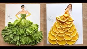 100 kitchen and fruits dress fashion illustration by edgar artis