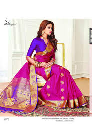 Buy Violet Embroidered Art Silk Silk Sarees Wholesale Trader From Surat