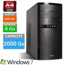 ordinateur bureau windows 7 pc bureau a4 4000 assemblé windows 7 8 go 2 to prix pas cher