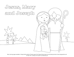 happy saints free coloring page of the holy family jesus mary