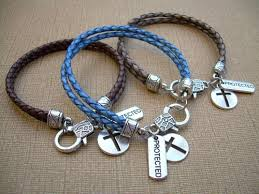 bracelet charms cross images Leather charm bracelet with cross and protected charms cross jpg