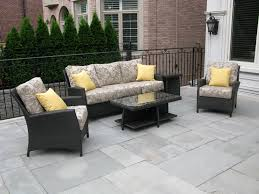 Black Wicker Patio Furniture - deluxe black wicker balcony furniture sofa sets on grey tile floor