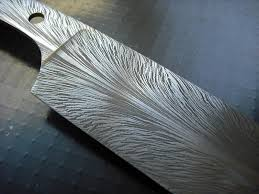 feather damascus kitchen knife blank detail 1 member galleries