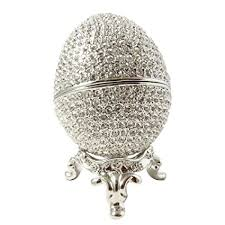 silver crystal ring holder images Faberge style egg proposal wedding jewelry ring holder jpg