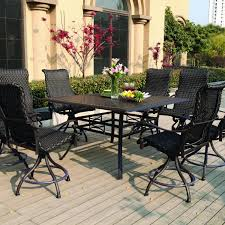 Bar Height Patio Set With Swivel Chairs Darlee 9 Resin Wicker Counter Height Patio Dining