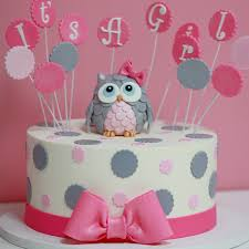 owl cake toppers its a girl baby shower cake sweet memories bakery polka dot pink