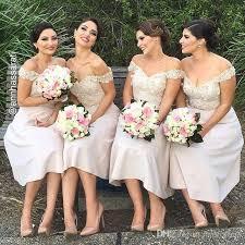 tea length short bridesmaid dresses 2017 off the shoulder beige a