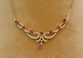 gold with diamond necklace images 14 karat yellow gold ruby and diamond necklace circa 1980 39 s sold jpg