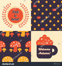 themed posters set fall inspired patterns posters collection stock vector