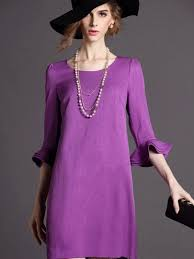 hollow purple flounce sleeve shift dress cheap excellent quality