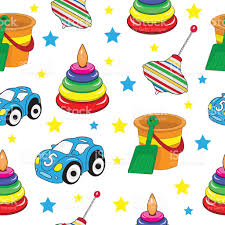 baby toys seamless texture childrens wallpaper background vector
