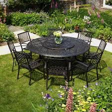 metal outdoor table and chairs maisie 180cm round 8 seater garden furniture set lazy susan